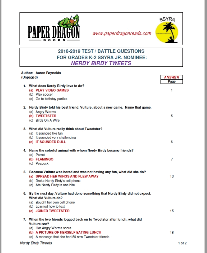 SSYRA JR  Test Questions Grades K-2 – Paper Dragon Books